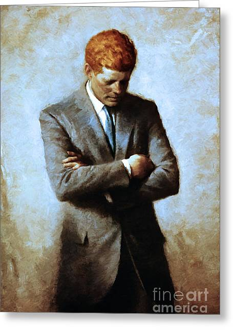 President Of America Greeting Cards - Red Head In The White House - John Fitzgerald Kennedy JFK 20130610 Greeting Card by Wingsdomain Art and Photography