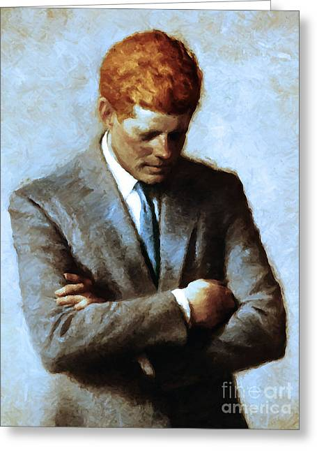 President Of America Greeting Cards - Red Head In The White House - John Fitzgerald Kennedy JFK 20130610v2 Greeting Card by Wingsdomain Art and Photography