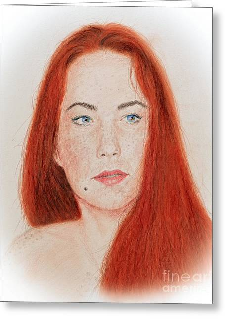 Beauty Mark Mixed Media Greeting Cards - Red Headed Beauty Greeting Card by Jim Fitzpatrick