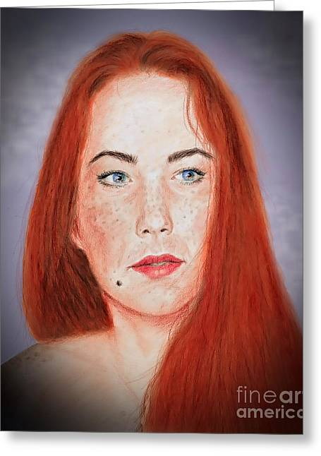 Beauty Mark Greeting Cards - Red Headed Beauty Vdersion II Greeting Card by Jim Fitzpatrick