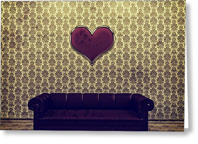 Purple Couch Greeting Cards - Red Heart and Purple Couch in a Gold Victorian Room Greeting Card by Beverly Claire Kaiya