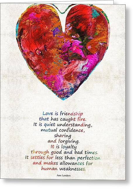 Anniversary Gift Greeting Cards - Red Heart Art - Love Is - By Sharon Cummings Greeting Card by Sharon Cummings