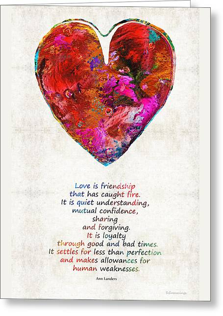 Red Art Greeting Cards - Red Heart Art - Love Is - By Sharon Cummings Greeting Card by Sharon Cummings