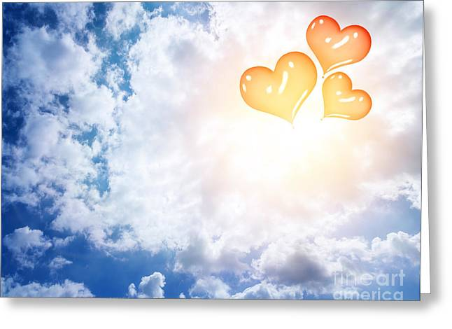 Helium Greeting Cards - Red heart balloons in the sky Greeting Card by Anna Omelchenko