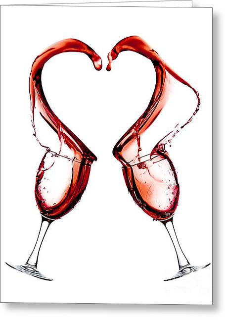 Wine Pyrography Greeting Cards - Red Heart Love Greeting Card by JC Kirk