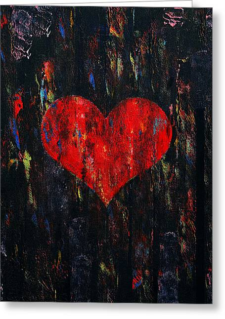 Amours Greeting Cards - Red Heart Greeting Card by Michael Creese