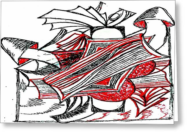 Floral Digital Drawings Greeting Cards - Red Heart Mushroom Greeting Card by Becky Sterling