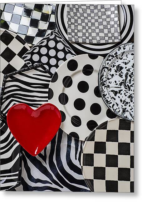 Ceramic Greeting Cards - Red heart plate on black and white plates Greeting Card by Garry Gay