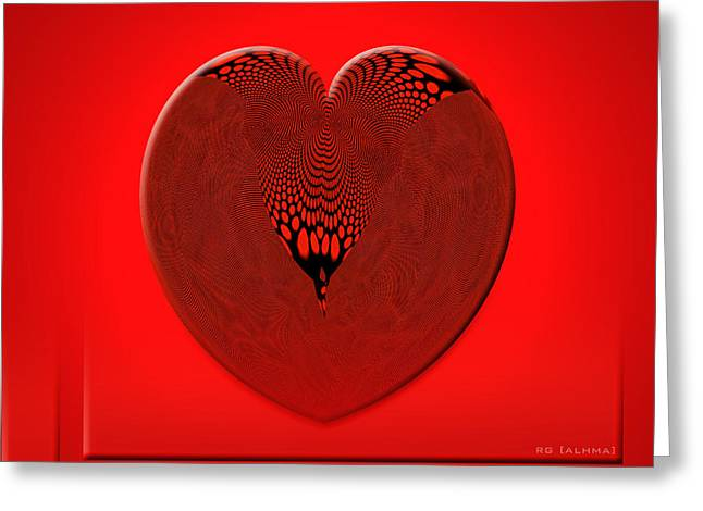 Abstractions Greeting Cards - Red Heart with Mesh Greeting Card by Rosario Gomez