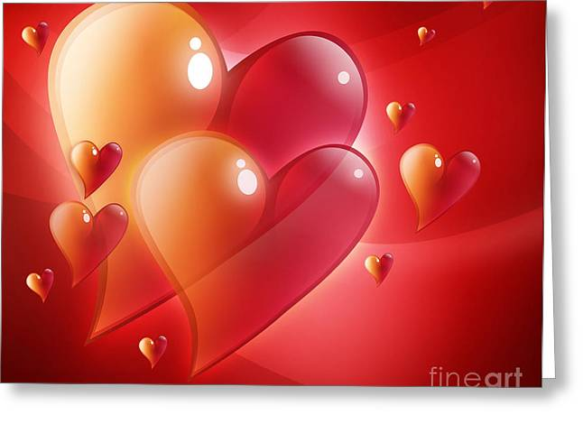 Red Hearts In Love Greeting Card by Angela Waye