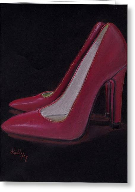 High Heeled Pastels Greeting Cards - Red Heels Greeting Card by Kelly Mills