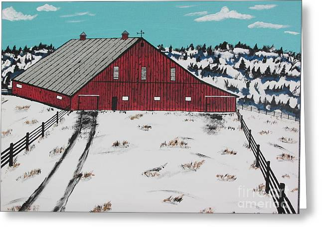 Cupola Paintings Greeting Cards - Red Hemloc Farm Greeting Card by Jeffrey Koss