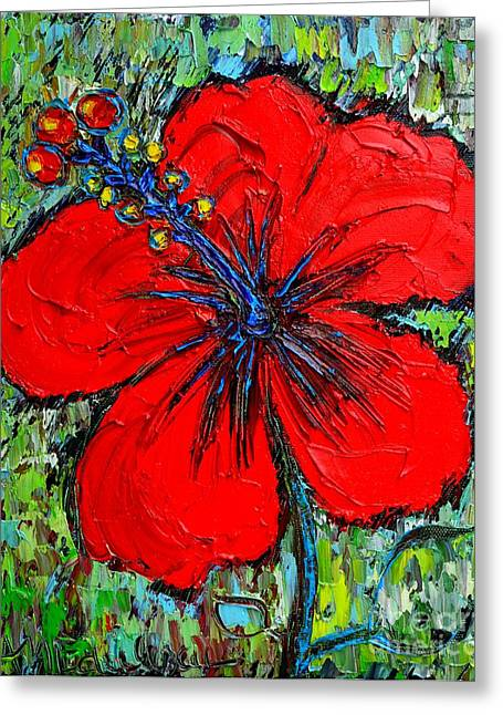 Pinks And Purple Petals Greeting Cards - Red Hibiscus Greeting Card by Ana Maria Edulescu