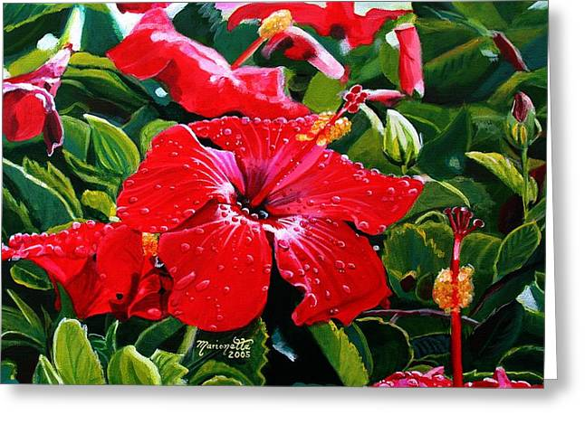 ; Maui Paintings Greeting Cards - Red Hibiscus Greeting Card by Marionette Taboniar