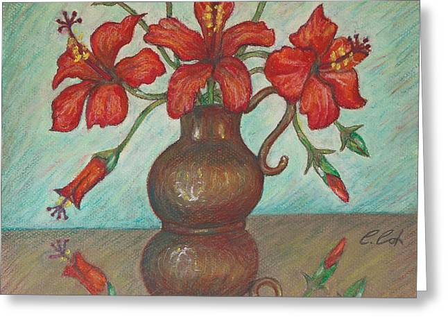 Interior Still Life Pastels Greeting Cards - Red Hibiscus with Blue Background Greeting Card by Claudia Cox