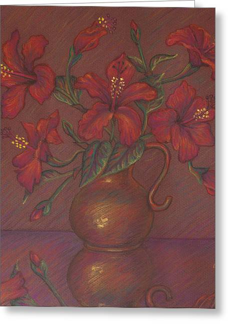 Squared Pastels Greeting Cards - Red Hibiscus with Purple Background Greeting Card by Claudia Cox
