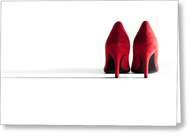 Red High Heel Shoes Greeting Card by Natalie Kinnear