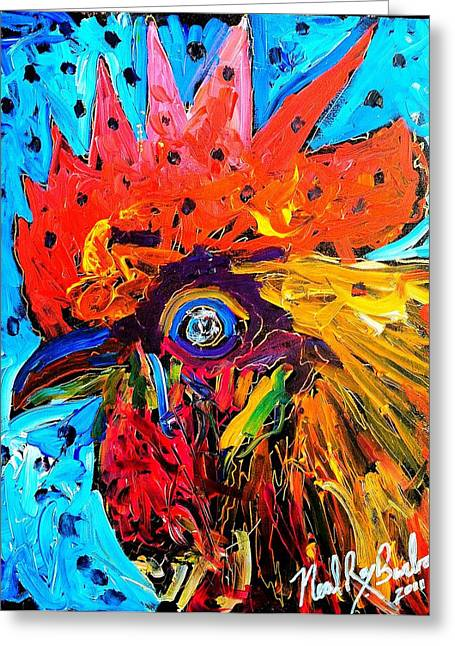 Sonoma County Paintings Greeting Cards - Red Hill Rooster Was Painted During Live Music Greeting Card by Neal Barbosa