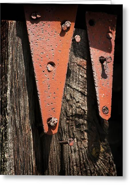 Straps Greeting Cards - Red Hinges on Weathered Wood Greeting Card by Rebecca Sherman