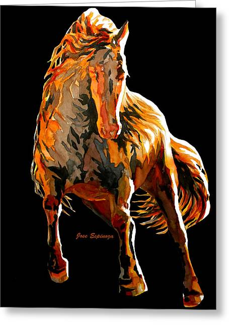 Horses In Print Greeting Cards - RED HORSE in black Greeting Card by Jose Espinoza