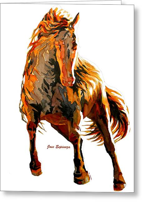 Amazing Drawings Greeting Cards - Red Horse  Greeting Card by Jose Espinoza