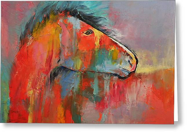 Cheval Greeting Cards - Red Horse Greeting Card by Michael Creese