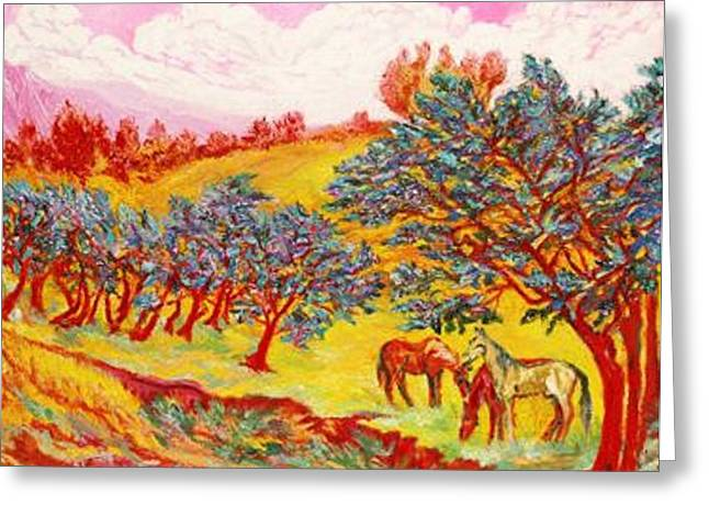 Art Decorator Discounts Greeting Cards - RED HORSES    Pop Art Greeting Card by Gunter  Hortz