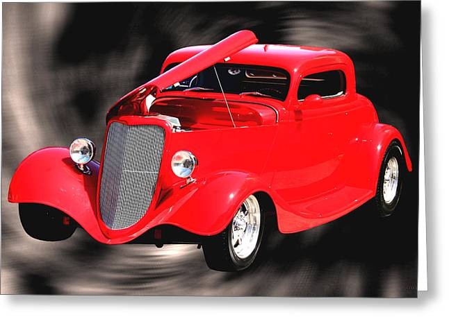 Transportation Greeting Cards - Red Hot and In A Swirl Greeting Card by Lesa Fine