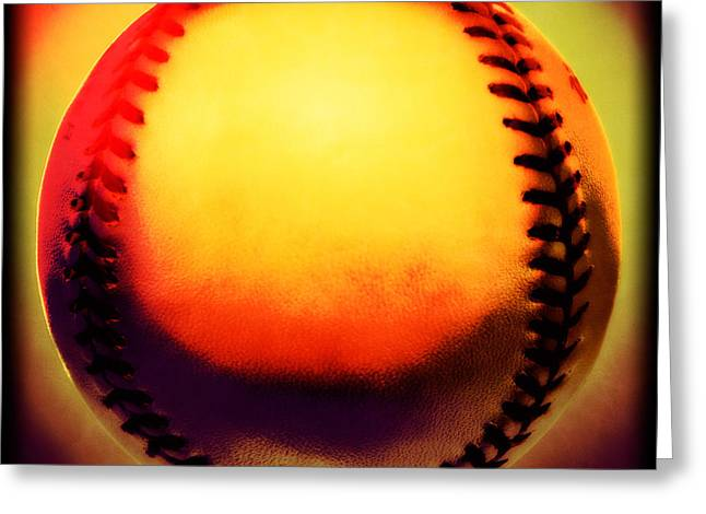 Baseball Equipment Greeting Cards - Red Hot Baseball Greeting Card by Yo Pedro