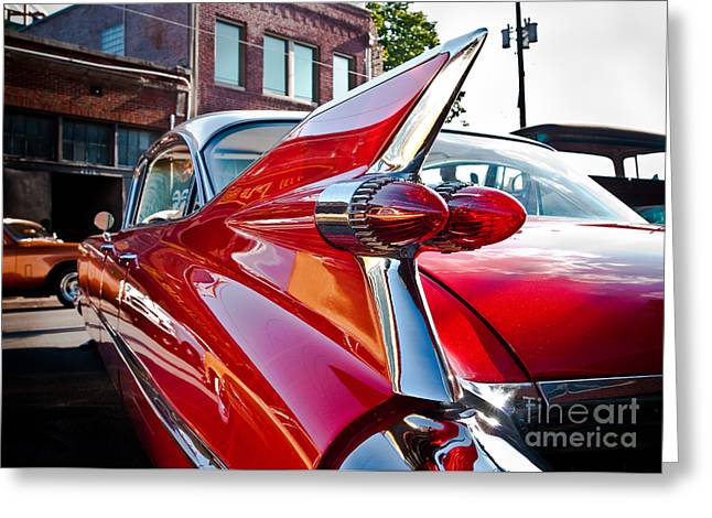 Nikon D80 Greeting Cards - Red Hot Cadillac Greeting Card by Sonja Quintero