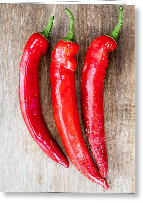 Chili Peppers Greeting Cards - Red Hot Chili Peppers Greeting Card by Edward Fielding