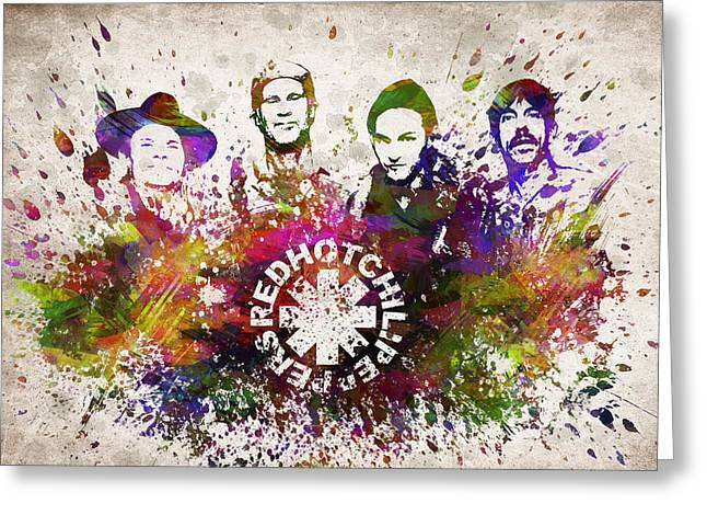 Metal Art Greeting Cards - Red Hot Chili Peppers in Color Greeting Card by Aged Pixel