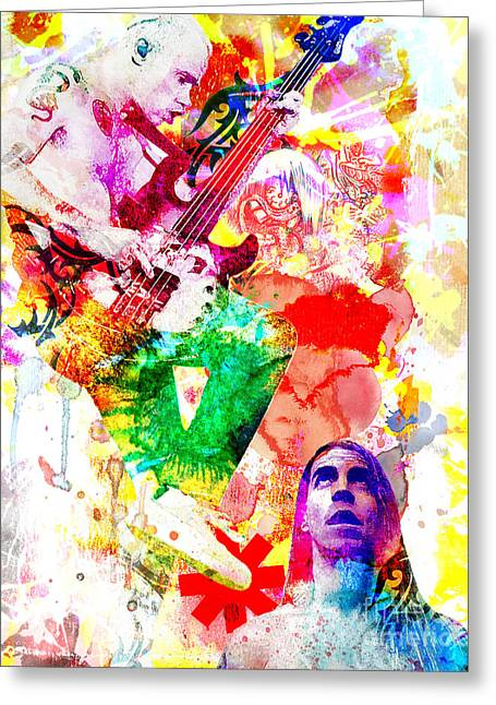 Musicians Paintings Greeting Cards - Red Hot Chili Peppers  Greeting Card by Ryan RockChromatic