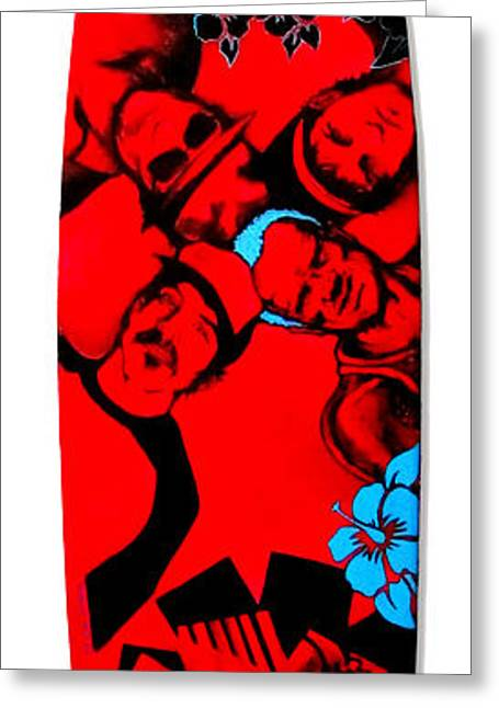 Rhcp Greeting Cards - Red Hot Chili Peppers Surfboard Greeting Card by SaxonLynn Arts