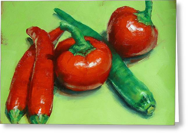 Margaret Stockdale Greeting Cards - Red Hot Chilli Peppers Greeting Card by Margaret Stockdale