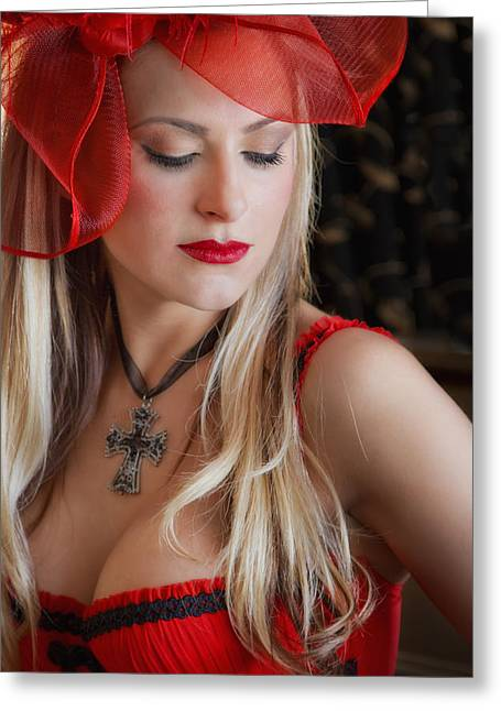 Model Photographs Greeting Cards - Red Hot Greeting Card by Evelina Kremsdorf