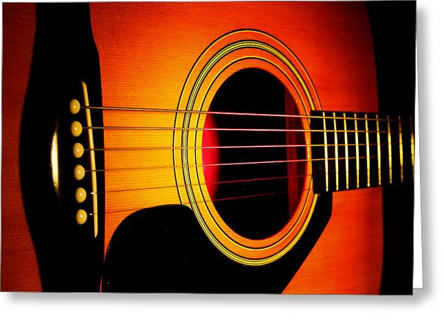 Overheating Greeting Cards - Red Hot Guitar Greeting Card by Robert Storost