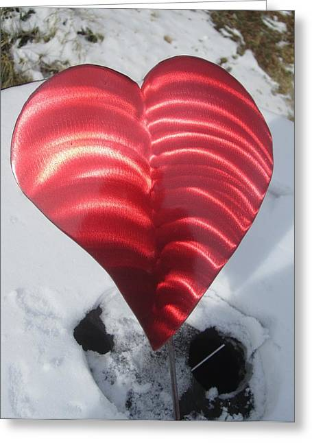Valentine Sculptures Greeting Cards - Red Hot Heart garden sculpture Greeting Card by Robert Blackwell