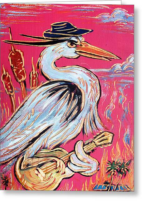 Ponz Greeting Cards - Red Hot Heron Blues Greeting Card by Robert Ponzio