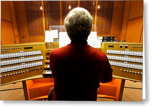Pipe Organ Greeting Cards - Red hot organist Greeting Card by Jenny Setchell