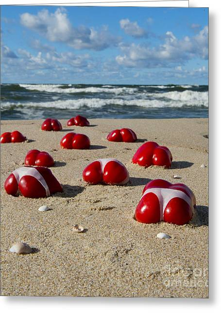 Hand Made Greeting Cards - Red Hot Peppers Greeting Card by Jaroslaw Blaminsky