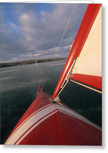 Sail Boat Greeting Cards - Red Hot Ride - Lake Geneva Wisconsin Greeting Card by Bruce Thompson