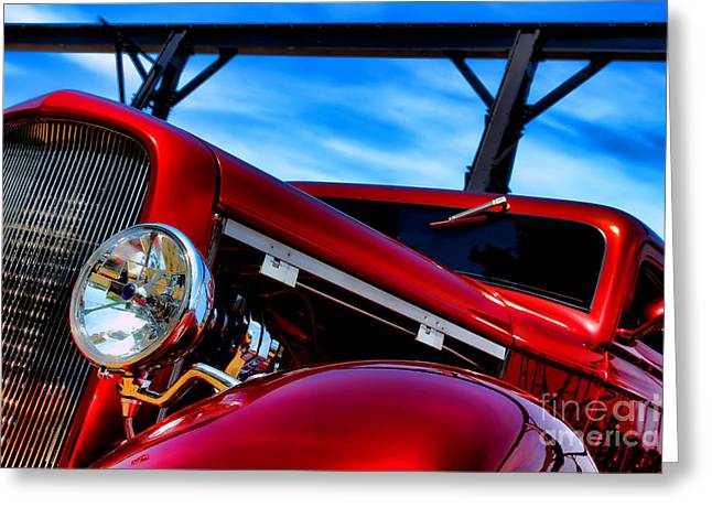 Modified Greeting Cards - Red Hot Rod Greeting Card by Olivier Le Queinec