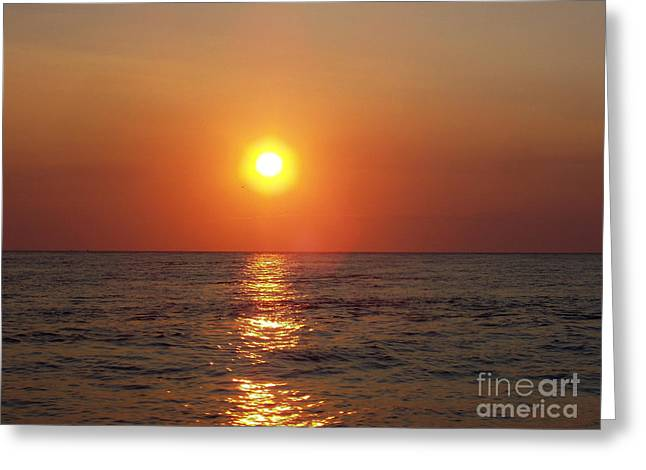 Red Hot Sunset Over Montauk Point Greeting Card by John Telfer