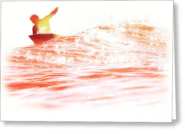Surf Silhouette Digital Art Greeting Cards - Red Hot Surfer Greeting Card by Paul Topp