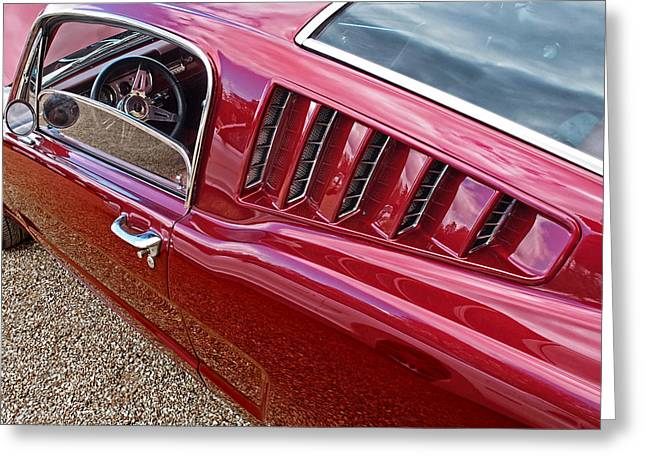 Geometric Image Greeting Cards - Red Hot Vents - Classic Fastback Mustang Greeting Card by Gill Billington