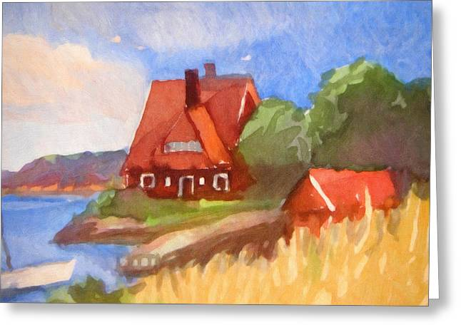 House By The Sea Greeting Cards - Red House by the Sea Greeting Card by Lutz Baar