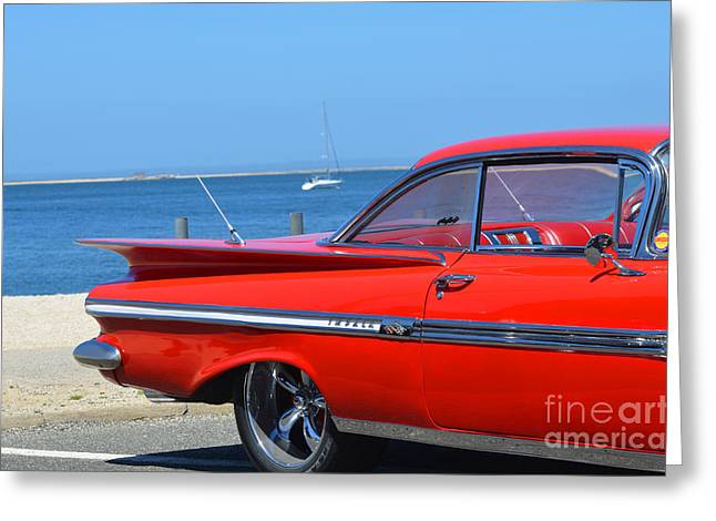 York Beach Greeting Cards - Red Impala on the Beach Greeting Card by Adspice Studios