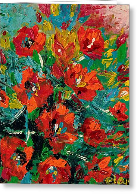 Filipino Artists Greeting Cards - Red in Blue Vase Greeting Card by Ela Jamosmos