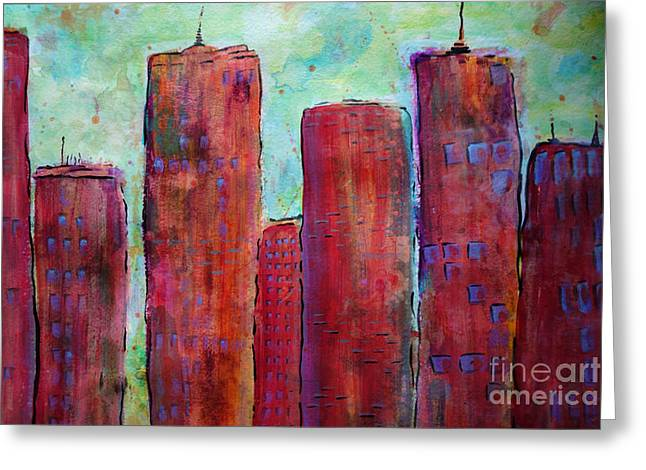 Contemporary Night Scape Greeting Cards - Red In The City Greeting Card by Jacqueline Athmann